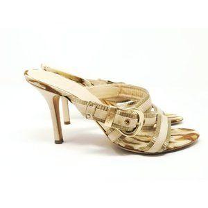 Dior Beige Slip On Strap Slip On Heel Sandals